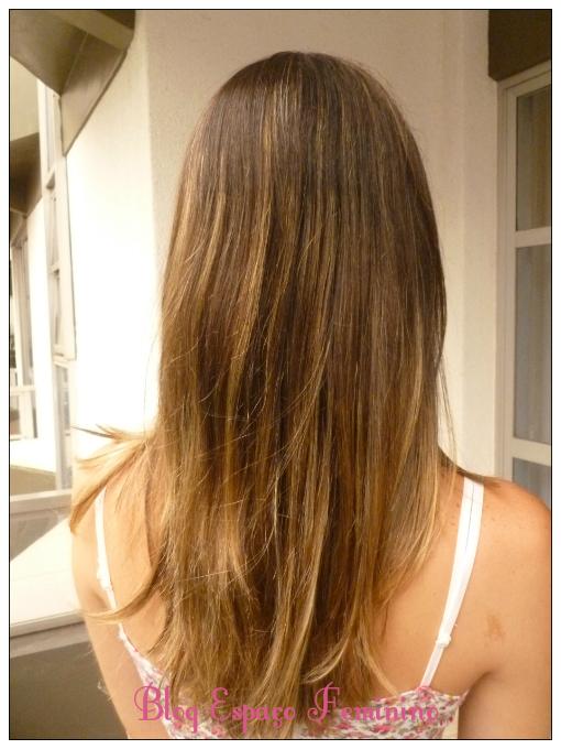 cabelos castanhos com mechas californianas ombre hair antes e depois
