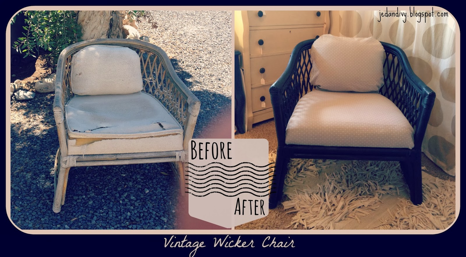 painting furniture black DIY wicker chair