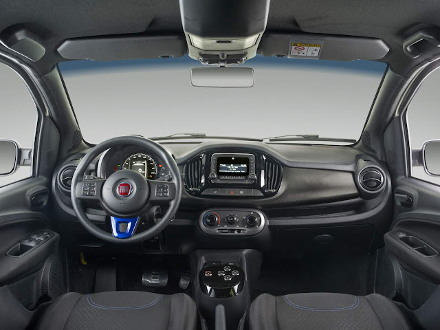Novo Fiat Uno Sporting 2016 Blue Edition - interior