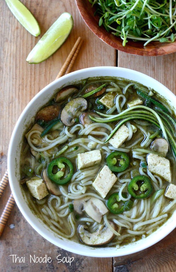 Thai Noodle Soup with Tofu, Mushroom & Zucchini by SeasonWithSpice.com