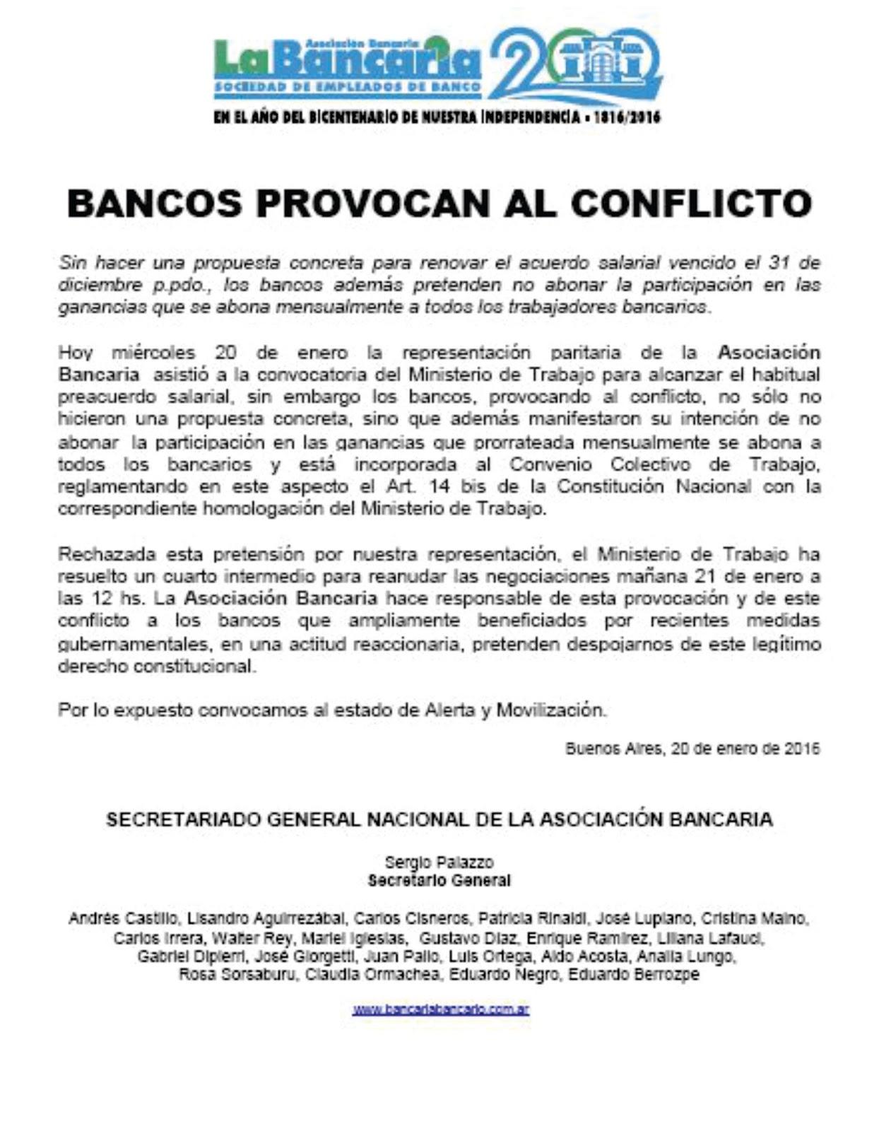 Asociacion Bancaria Chivilcoy: enero 2016