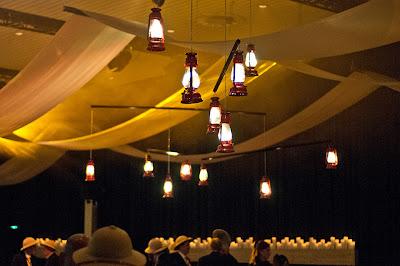 suspended turning fairy light lanterns mobile - event design by objet bart