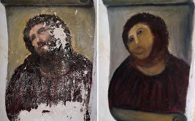 pintura ecce homo estropeada y es ecce mono ahora