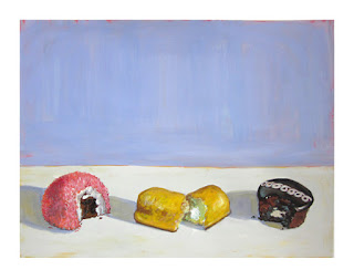 hostess painting, twinkie art, sno ball painting, junk food painting, hostess cupcake art, still life