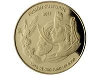 """La moneda denominada """"Español e Indígena"""" muestra dos cabezas de perfil, una de un español con almete y un indígena con penacho."""