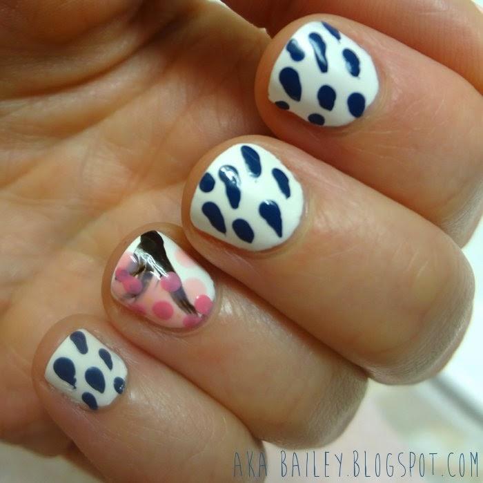 Rain Drop Nails, Cherry Blossom Tree nail art