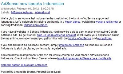 Sudah Bisa Daftar Google Adsense di Blog Bahasa Indonesia