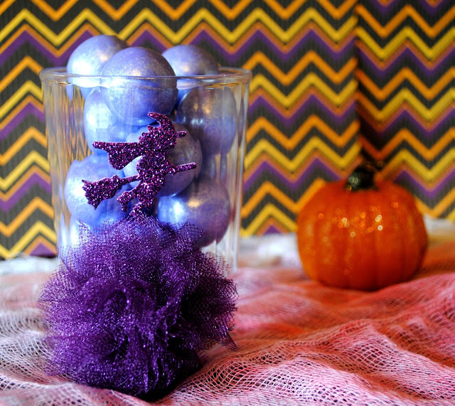 DIY Halloween Treat Cups, Tulle Pom and Sticker Embellishments