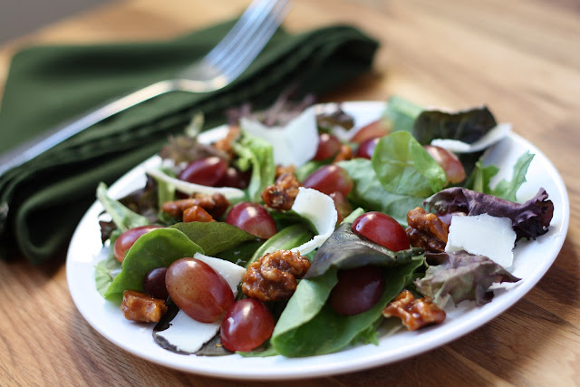 Grape and Candied Walnut Salad recipe by Barefeet In The Kitchen