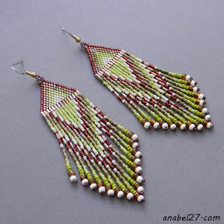 купить украшения в стиле бохо, зеленый коричневый цвет серьги