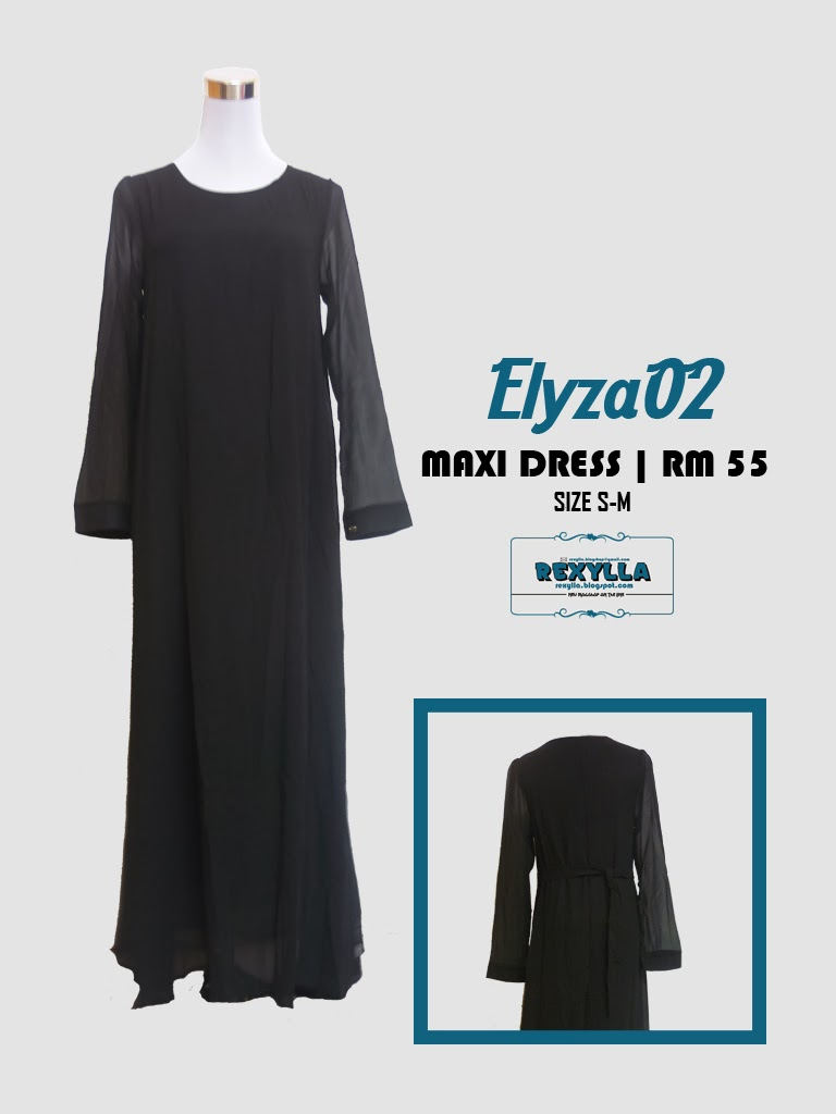 maxi dress, plain design, rexylla
