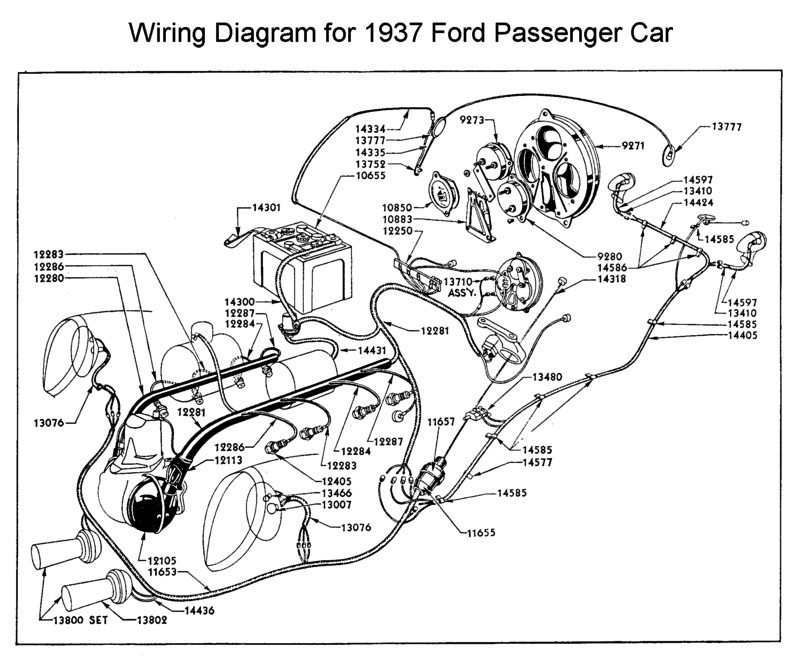 1937+Ford+Passenger+Car+Wiring+Diagram 1937 ford passenger car wiring diagram all about wiring diagrams 1937 ford wiring diagram at crackthecode.co
