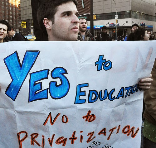 """Occupy the Schools"" Protest in New York City - Feb 1, 2012. (Photo by Michael Fleshman)"