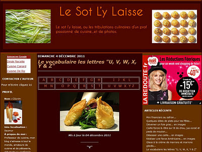 Le vocabulaire de la cuisine sur Le Sot L'y Laisse : lettres U, V, W, X, Y et Z
