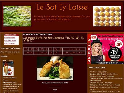 Le vocabulaire de la cuisine sur Le Sot L'y Laisse : lettres U, V, W, X, Y et Z