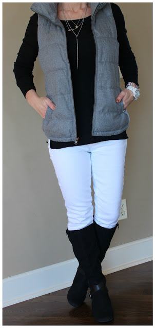 Gap Modern Boatneck Tee // Old Navy Fleece Lined Vest // Gap Factory Jeans (similar) // Coconuts by Matisse Boots (similar) // ILY Couture Necklace (sold out, but very similar here) // Fossil Watch //  Anne Klein Bracelet (similar - only $15, regular $32!)
