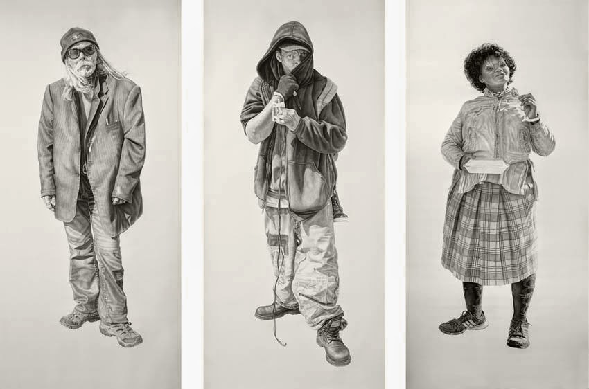 Lucky, Maurice and Tinesha. All works 42x94in, Charcoal & Graphite on Paper by Joel Daniel Phillips