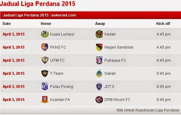 Jadual Liga Perdana 3.4.2015