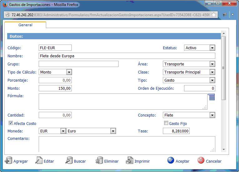 Costos de Importaciones con eFactory ERP/CRM - Software web para el cloud computing