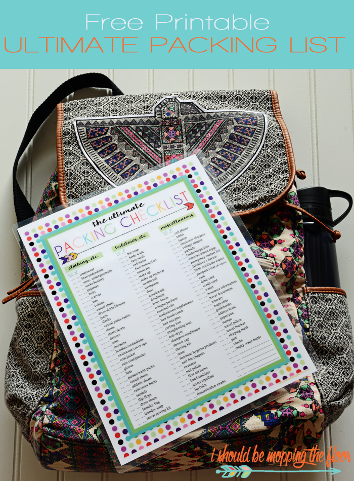 Free Printable Packing List & Coordinating Free Luggage Tags