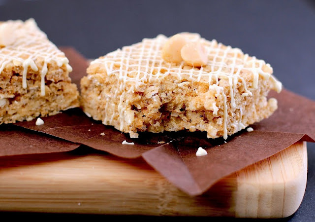 Healthy White Chocolate Macadamia Nut Krispy Treats - Desserts with Benefits