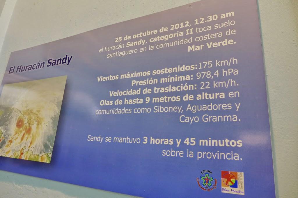 Santiago de Cuba signage describing hurricane Sandy