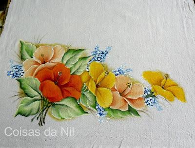 pintura pano de copa hibisco flor