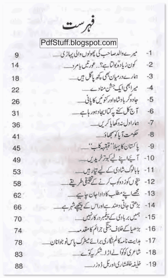 Contents of Urdu book Be Izzati Kharab by Mustansar Hussain Tarar