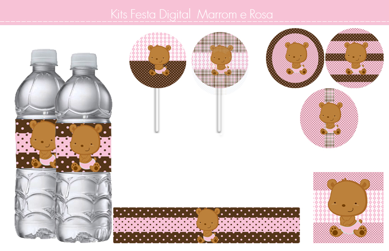 Tema Ursinho Marrom e Rosa - Kit Digital