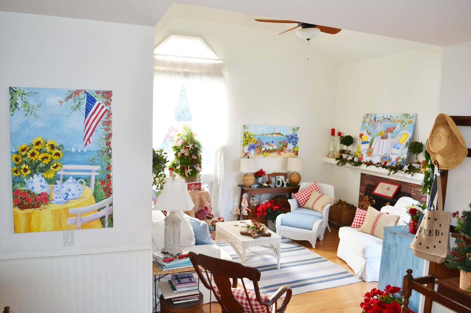 The Vintage White Wicker Chairs Shows Up In A Lot Of My Coastal Cottage Paintings And Is Painting Over Fireplace Bentley Dining Room
