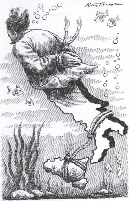 Cartunista mostrando que a máfia está levando a Itália para baixo
