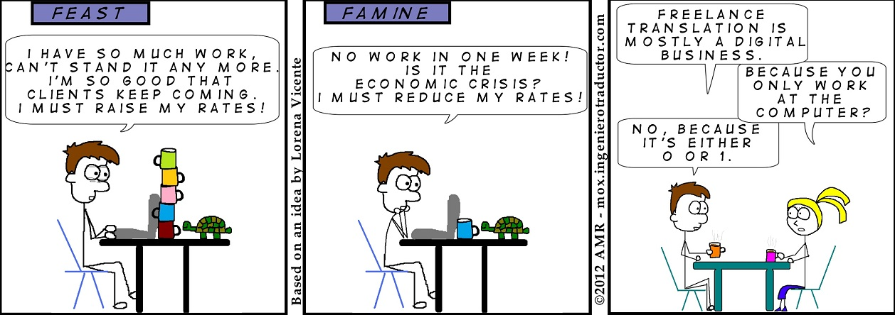 cartoon feast or famine for freelancers