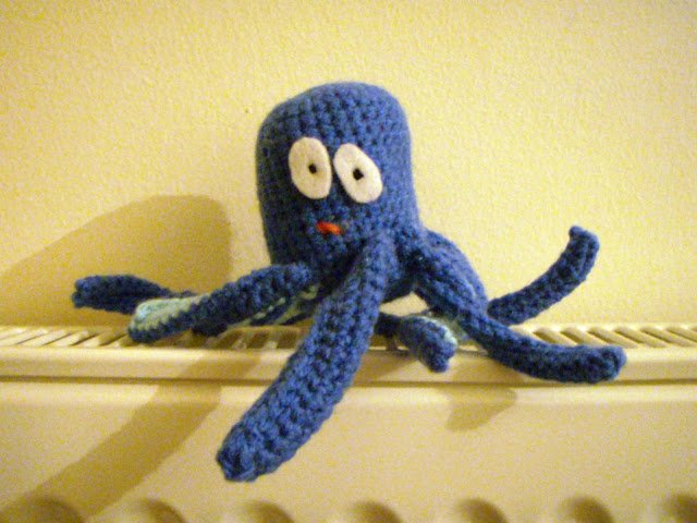 blue crochet octopus funny plush toy