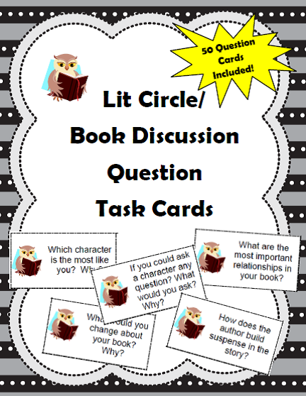 http://www.teacherspayteachers.com/Product/50-Literature-CircleBook-Discussion-Question-Task-Cards-for-Grades-4-9-1081009