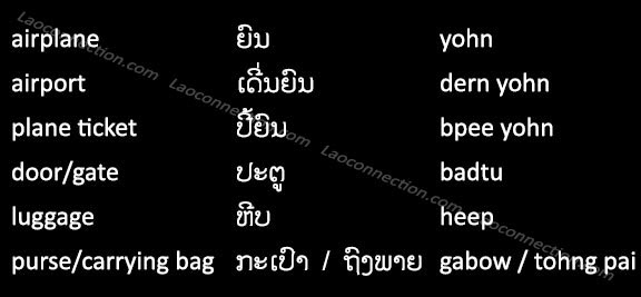 Lao Language:  Travel Words - At The Airport - written in Lao and English