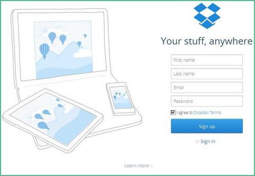 Tampilan halaman website resmi layanan Dropbox