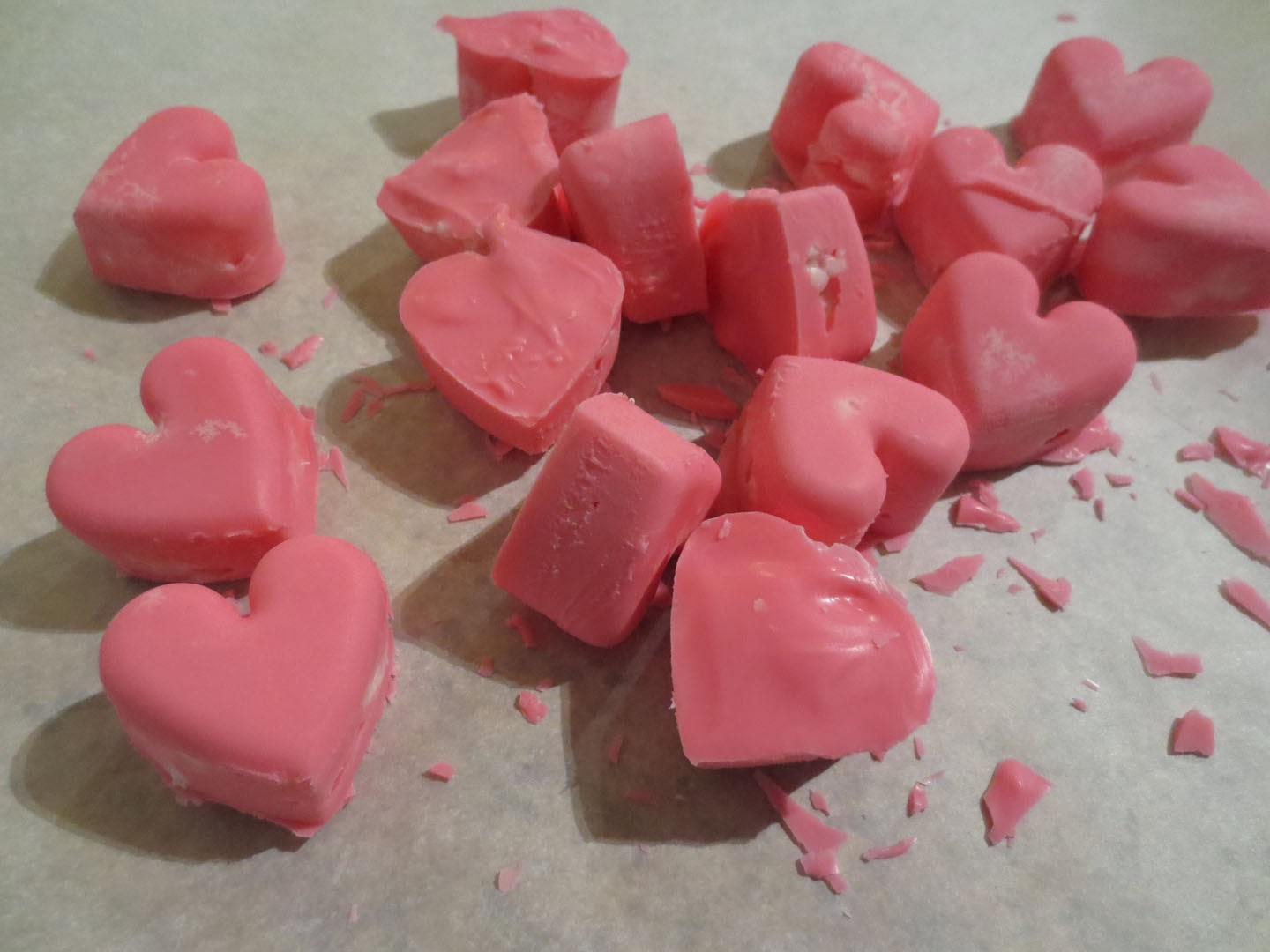 pink chocolate candy hearts