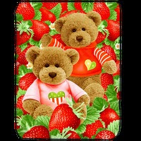 Jual Selimut Kendra Soft Panel Blanket Strawberry Bear