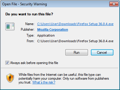 Security Warning when running a windows executable that was properly signed.