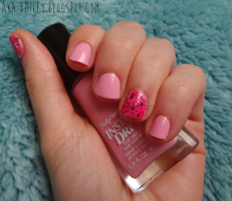Pastel pink nails with multi-colored glitter accent nails, Pink Blink