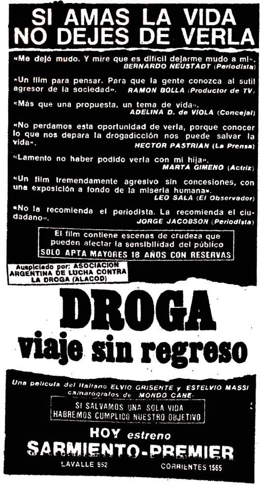 Aviso de 'Droga: viaje sin regreso', publicado en los diarios porteños en abril de 1989