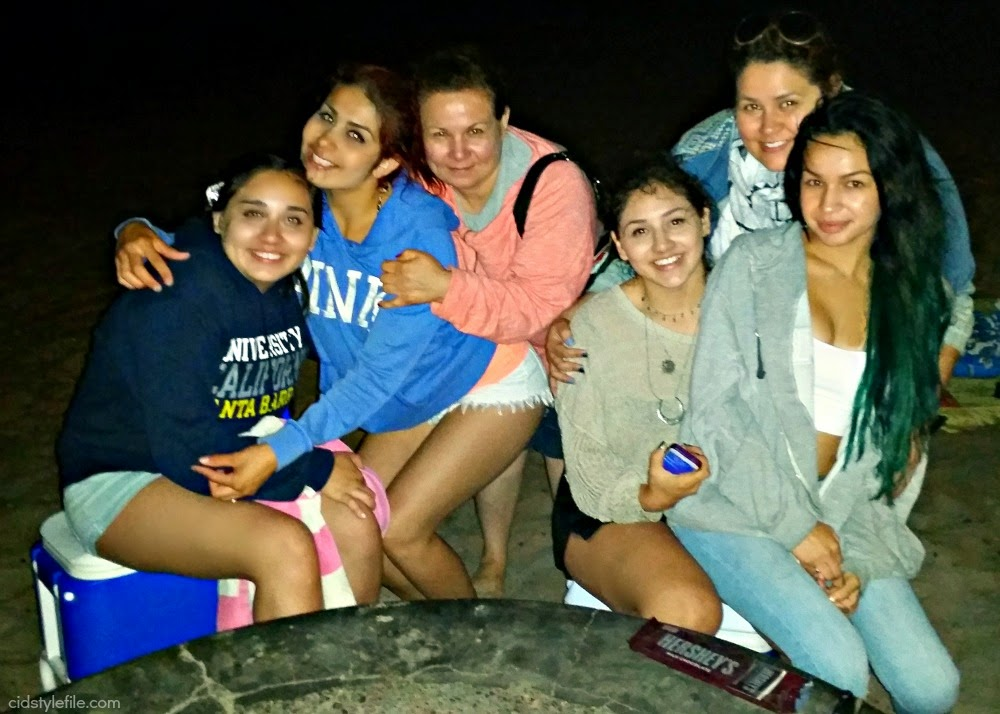 bonfire, s'mores, hersheys, bolsa chica, beach day, latinas, cid style file