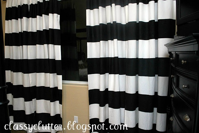 Tutorial for diy stripe curtains using freezer paper for Paper curtains diy
