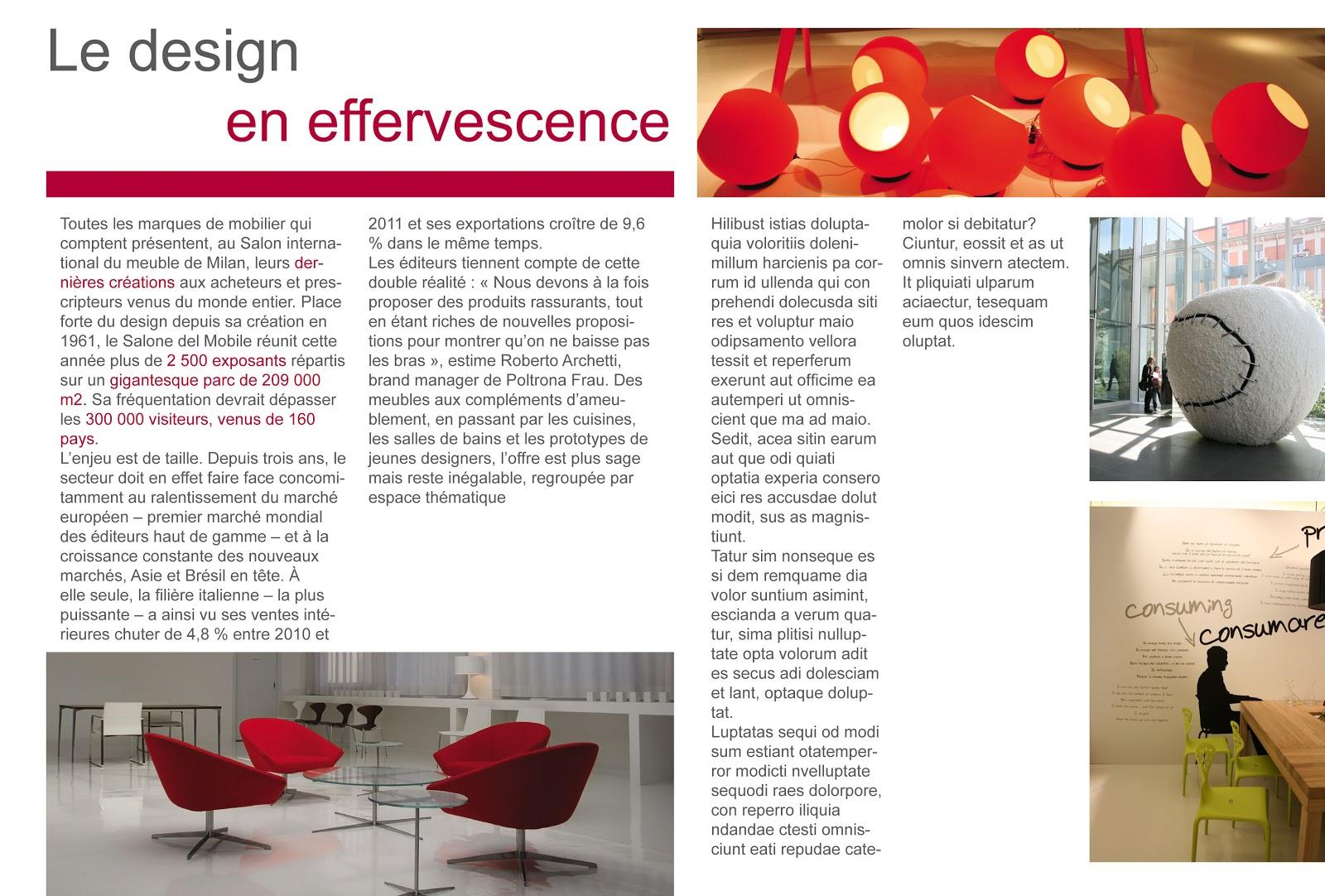 Florian nadeau mise en page sur le salon du design de milan for Le salon du design