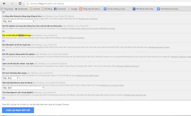 Kích hoạt giao diện Material trên trình duyệt Chrome