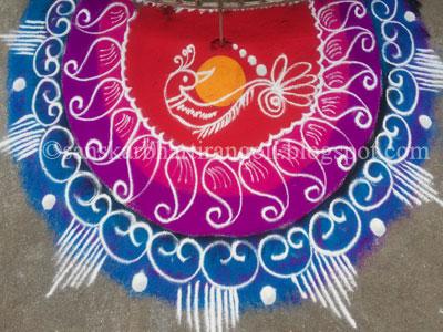 Semi Circular Peacock Rangoli - Sanskar Bharti Rangoli