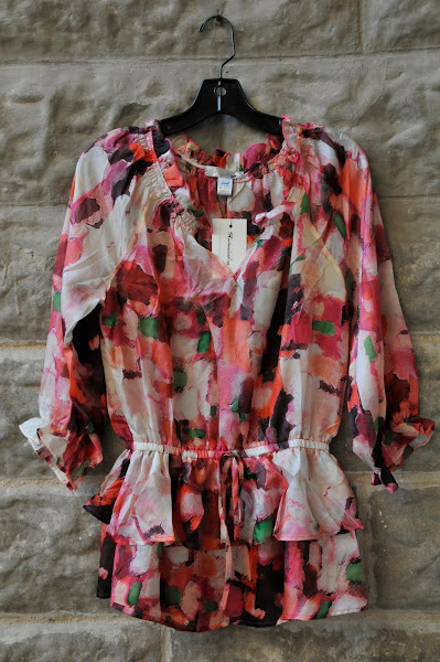 Silk printed blouse with peplum