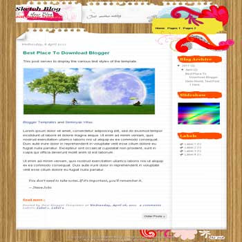 Sketch Blog Blogger Template. blogger template from wordpress theme.