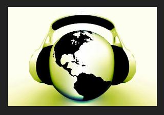 podcast image globe with headphones