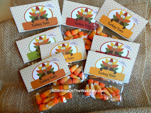 Turkey Toes (Candy Corn) Bag Topper-Fun Treat
